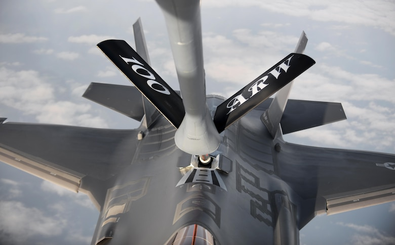 An F-35A Lightning II receives fuel from a 100th Air Refueling Wing KC-135 Stratotanker over the Atlantic Ocean April 15, 2017. The F-35As are conducting their first overseas deployment during which they will conduct flying training with NATO partners. (U.S. Air Force photo by Airman 1st Class Tenley Long)