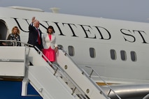Vice President of the United States Mike R. Pence and his wife, Karen Pence, arrive at Osan Air Base, Republic of Korea, April 16, 2017. Pence is the most senior member of the Trump administration to visit Korea, aiming to reaffirm the ironclad U.S. – ROK alliance. (U.S. Air Force photo by Airman 1st Class Gwendalyn Smith)