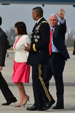 Vice President of the United States Mike R. Pence walks with U.S. Army Gen. Vincent K. Brooks, U.S. Forces Korea commander, after landing at Osan Air Base, Republic of Korea (ROK), April 16, 2017. Pence's visit to Korea highlights the importance of U.S. – ROK alliance, and how teamwork will be vital to deterring regional threats and maintaining stability on the Korean peninsula. (U.S. Air Force photo by Airman 1st Class Gwendalyn Smith)