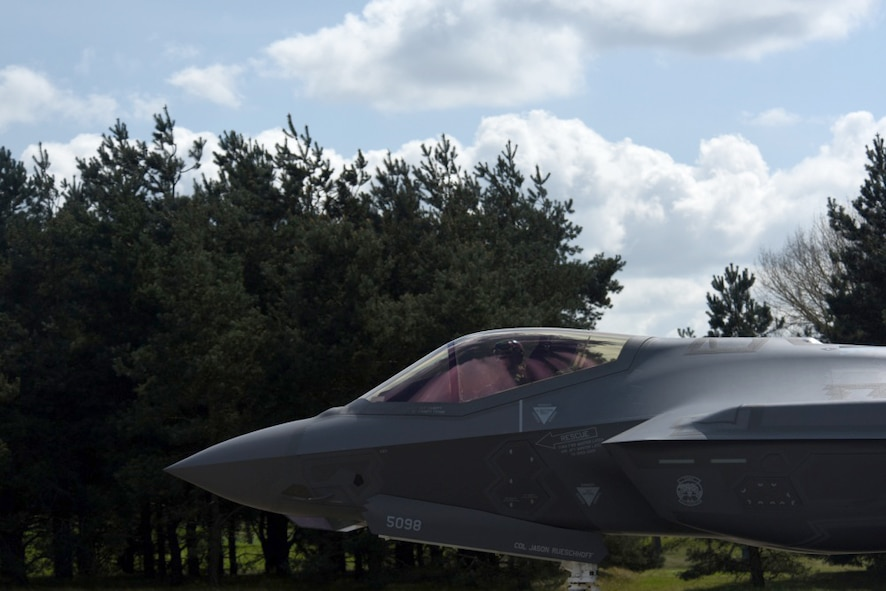An F-35 Lightning II from the 34th Fighter Squadron at Hill Air Force Base, Utah, taxis after landing at Royal Air Force Lakenheath, England, April 15, 2017. The fifth generation, multi-role fighter aircraft is deployed here to maximize training opportunities, affirm enduring commitments to NATO allies, and deter any actions that destabilize regional security. (U.S. Air Force photo/Airman 1st Class Eli Chevalier)