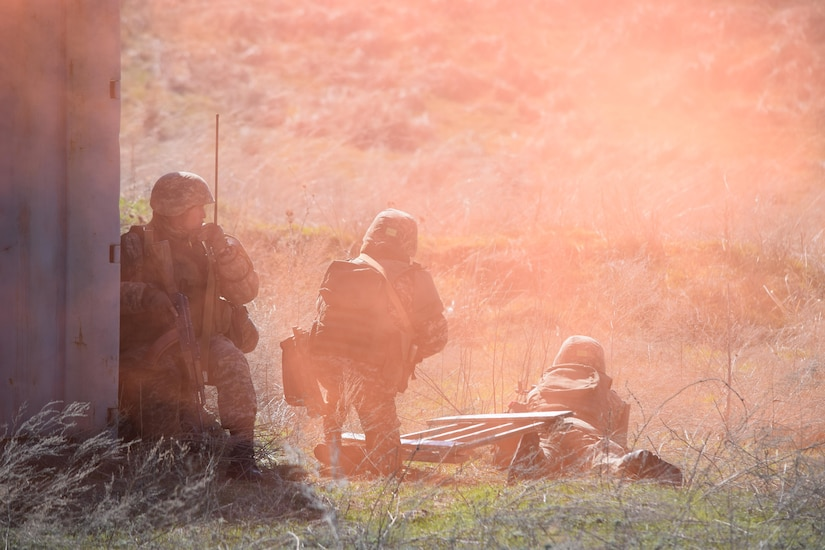 A cloud of orange smoke clears as Kazakhstani soldiers prepare to clear buildings during a scenario for Steppe Eagle Koktem Apr. 10, 2017, at Illisky Training Center, Kazakhstan.