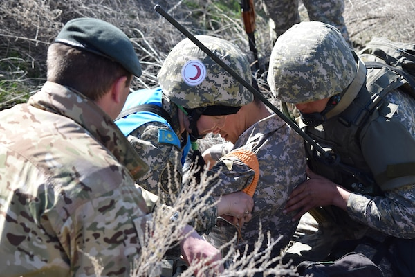 A U.K. soldier from 1st Battalion, The Rifles, 160 Brigade, observes a casualty scenario during the practical exercise portion of Steppe Eagle Koktem Apr. 9, 2017, at Illisky Training Center, Kazakhstan.