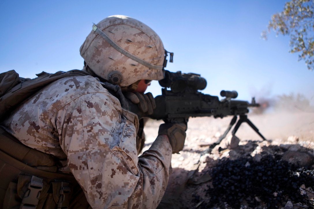 Marine Corps Lance Cpl. Andrew Campbell fires a M240B machine gun during a Marine expeditionary unit exercise in support of Weapons and Tactics Instructor course 2-17 at Marine Corps Air Station Yuma, Ariz., April 14, 2017. Campbell is a machine gunner assigned to 2nd Battalion, 6th Marine Regiment, 2nd Marine Division. Marine Corps photo by Cpl. AaronJames B. Vinculado