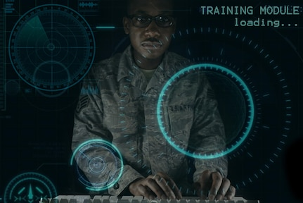Exploitation Analyst Airmen assigned to the 41st Intelligence Squadron have begun using advanced mobile desktop training that uses an environment to challenge each individual analyst in cyberspace maneuvers to achieve mission objectives at Fort. George G. Meade. (U.S. Air Force Illustration/Staff Sgt. Alexandre Montes)