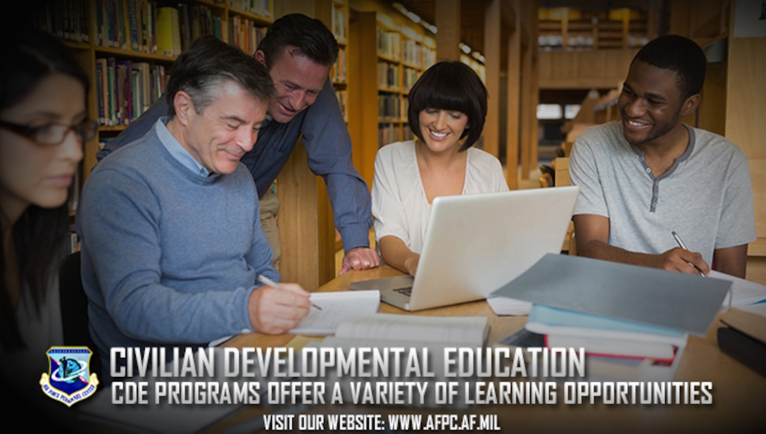 The Air Force offers many civilian developmental education opportunities to train and develop current and future leaders. Eligible civilians have until May 1 to submit their CDE program applications to the Air Force Personnel Center. (U.S. Air Force courtesy photo)
