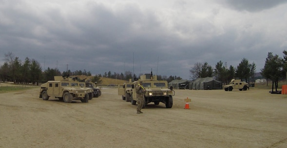 U.S. Army Reserve vehicles and their crews wait their turn for basic live-fire next to completed vehicles during Operation Cold Steel at Fort McCoy, Wis., April 15, 2017. Operation Cold Steel is the U.S. Army Reserve's crew-served weapons qualification and validation exercise to ensure that America's Army Reserve units and Soldiers are trained and ready to deploy on short-notice and bring combat-ready and lethal firepower in support of the Army and our joint partners anywhere in the world. (U.S. Army Reserve photo by Staff Sgt. Debralee Best, 84th Training Command)