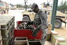A U.S. Army Reserve range operations Soldier sorts brass and links during Operation Cold Steel at Fort McCoy, Wis., April 15, 2017. Operation Cold Steel is the U.S. Army Reserve's crew-served weapons qualification and validation exercise to ensure that America's Army Reserve units and Soldiers are trained and ready to deploy on short-notice and bring combat-ready and lethal firepower in support of the Army and our joint partners anywhere in the world. (U.S. Army Reserve photo by Staff Sgt. Debralee Best, 84th Training Command)