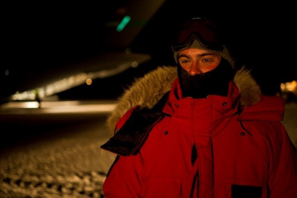 160715-F-GD533-014 – U.S. Air Force Staff Sgt. Kirk Halsey, 304th Expeditionary Airlift Squadron crew chief, dawns extreme cold weather gear as he stands in front of a C-17 Globemaster III during Operation Deep Freeze (ODF), July 15, 2016, at Pegasus Ice Runway, Antarctica. ODF is one of the most difficult U.S. military peacetime missions due to the austere environment in which it is conducted. Therefore, extreme cold weather gear, including polar fleeces, balaclavas (ski masks), mukluks (soft boots designed for cold weather), cold weather gloves, ear bands, neck gaiters, hats, polar fleece pants, insulated cold weather bibs, extreme cold weather parkas, is issued to personnel in order for them to be prepared to support this vital mission. (U.S. Air Force Reserve photo by Staff Sgt. Madelyn McCullough