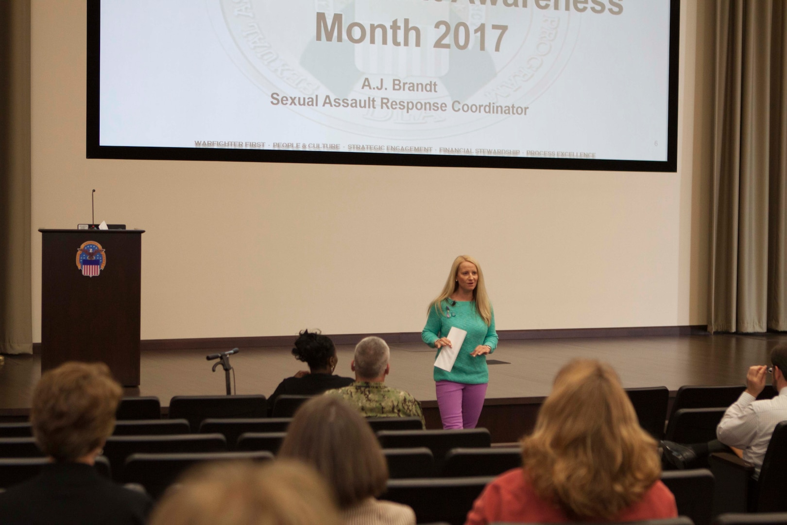 DLA Distribution's Multicultural Committee hosted a session with one of Distributions Sexual Assault Response Coordinator's, A.J. Brandt on April 12.