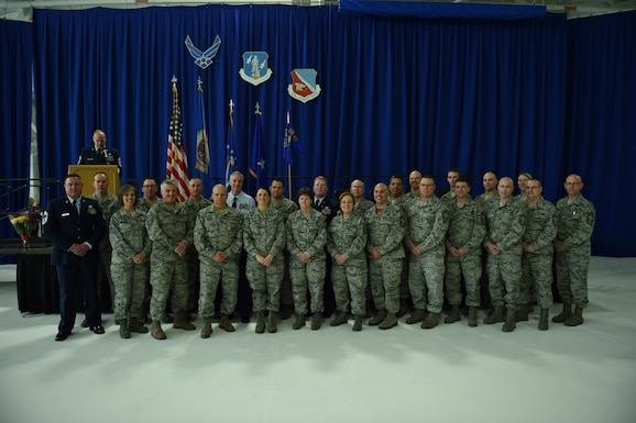 The 133rd Airlift Wing selected its thirteenth Command Chief during a ceremonial change of responsibility in St. Paul, Minn., Feb. 25, 2017. The outgoing U.S. Air Force Command Chief, Chief Master Sgt. Paul Kessler, passed the Wing's guidon to Chief Master Sgt. Lance Burg who assumed responsibility as the 13th senior enlisted advisor of the 133rd Airlift Wing. Both Kessler and Burg thanked their friends, family and mentors who had helped raise them to the Air Force's highest enlisted rank during their speeches at the ceremony. (U.S. Air National Guard photos by Tech. Sgt. Paul Santikko/Released)