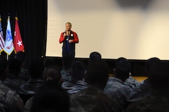 Kayla Harrison, Olympic Gold Medalist, speaks with Soldiers during a Sexual Assault Awareness and Prevention Month event at Joint Base Langley-Eustis, Va., April 14, 2017. Harrison, who is a sexual assault victim herself, shared her story of perseverance, recovery and overcoming obstacles after the traumatic event. (U.S. Air Force photo/Airman 1st Class Kaylee Dubois)