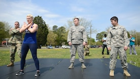U.S. Army Soldiers learn proper falling techniques from Kayla Harrison, Olympic Gold Medalist for Judo, during a Sexual Assault Awareness and Prevention Month event at Joint Base Langley-Eustis, Va., April 14, 2017. Harrison taught Soldiers how to toss their opponent and defend themselves in a combative situation. (U.S. Air Force photo/Airman 1st Class Kaylee Dubois)