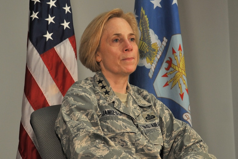 U.S. Air Force Lt. Gen. VeraLinn Jamieson, Intelligence, Surveillance and Reconnaissance Deputy Chief of Staff, talks about ISR's future during an interview on Goodfellow Air Force Base, Texas, April 13, 2017. Jamieson visited Goodfellow to tour ISR facilities and visit Airmen. (U.S. Air Force photo by Staff Sgt. Laura R. McFarlane/Released)