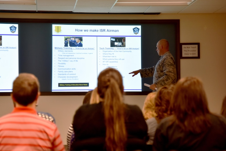 U.S. Air Force Lt. Col. Steven Watts II, 17th Training Group Deputy Commander, briefs Leadership San Angelo in the Di Tommaso Hall on Goodfellow Air Force Base, Texas, April 13, 2017. The brief explained how the 17th Training Wing trains its intelligence, surveillance and reconnaissance Airmen. (U.S. Air Force photo by Staff Sgt. Joshua Edwards/Released)