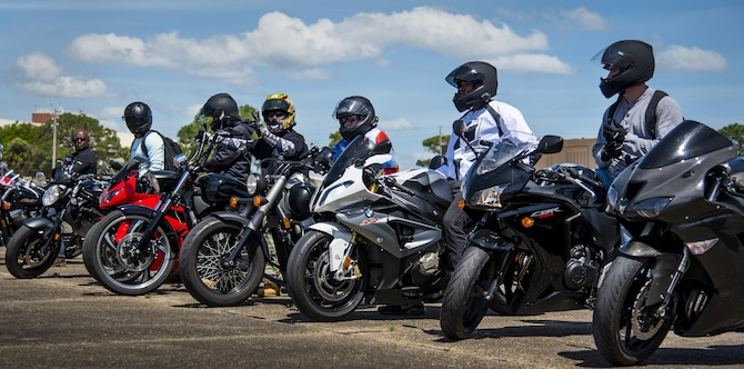 A group of riders wait to take off after the annual motorcycle safety rally at Eglin Air Force Base, Fla., April 14.  More than 500 motorcyclists came out for the event that meets the annual safety briefing requirement for base riders.  (U.S. Air Force photo/Samuel King Jr.)