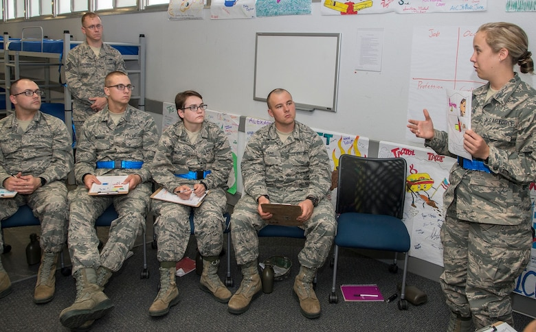 Tech Sgt. Alexander assists Airmen as they lead their own discussion during Airman's Week, an important part of their integration into the Air Force.
