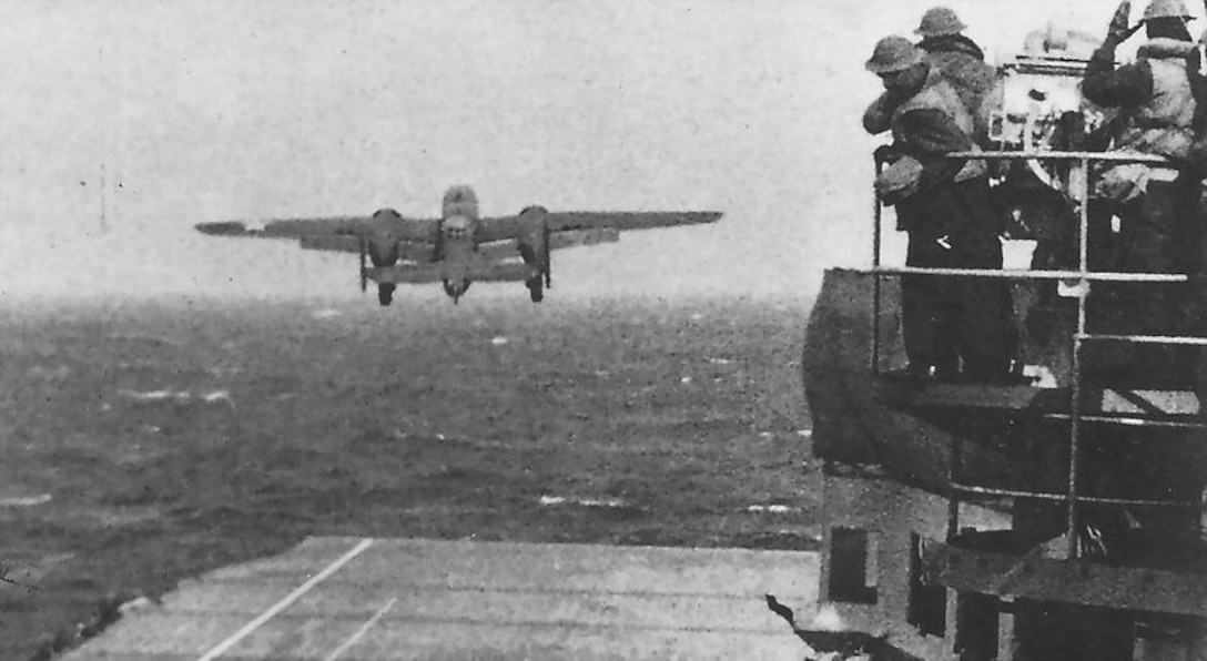 Doolittle's aircraft takes off from the USS Hornet, at 0830, 18 August 1942, about 750 miles east of Japan. (US Navy official photo)