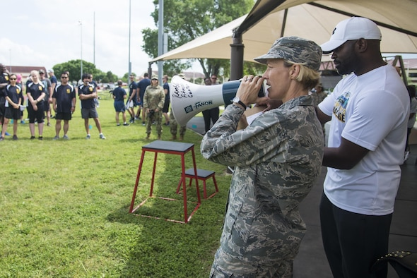 "Brig. Gen. Heather Pringle, 502nd Air Base Wing and Joint Base San Antonio commander, announce the ""Survivor's Challenge"" winning team April 13, 2017, at Joint Base San Antonio-Randolph.  Survivor's Challenge is a JBSA competition where teams compete in mental and physical challenges to help raise awareness and prevent sexual assault within the military and federal service.  (U.S. Air Force photo by Sean M. Worrell)"
