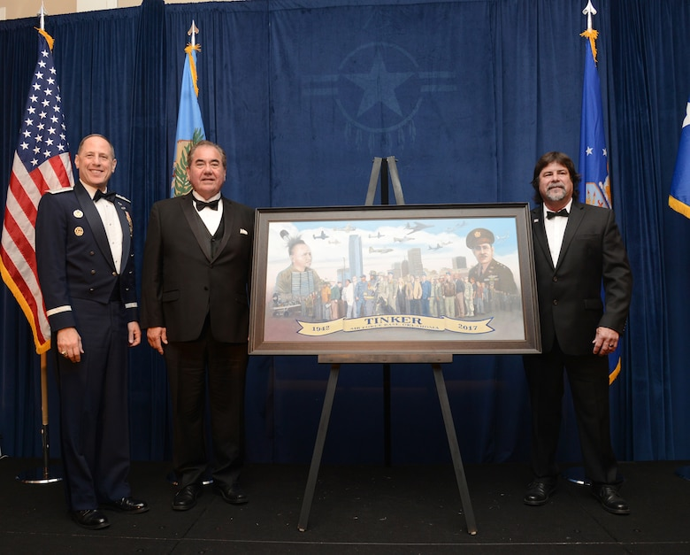 As part of Tinker's 75th Anniversary festivities, the Tinker and Community Dining Out was held at The Skirvin Hilton in downtown Oklahoma City Apr. 7. Oklahoma State Gov. Mary Fallin was the featured speaker at the black-tie event. A commissioned painting commemorating the 75th anniversary of Tinker Air Force Base, and painted by one of Tinker's own, Senior Master Sgt. Darby Perrin, with the 507th Air Refueling Wing, was unveiled during the celebration.