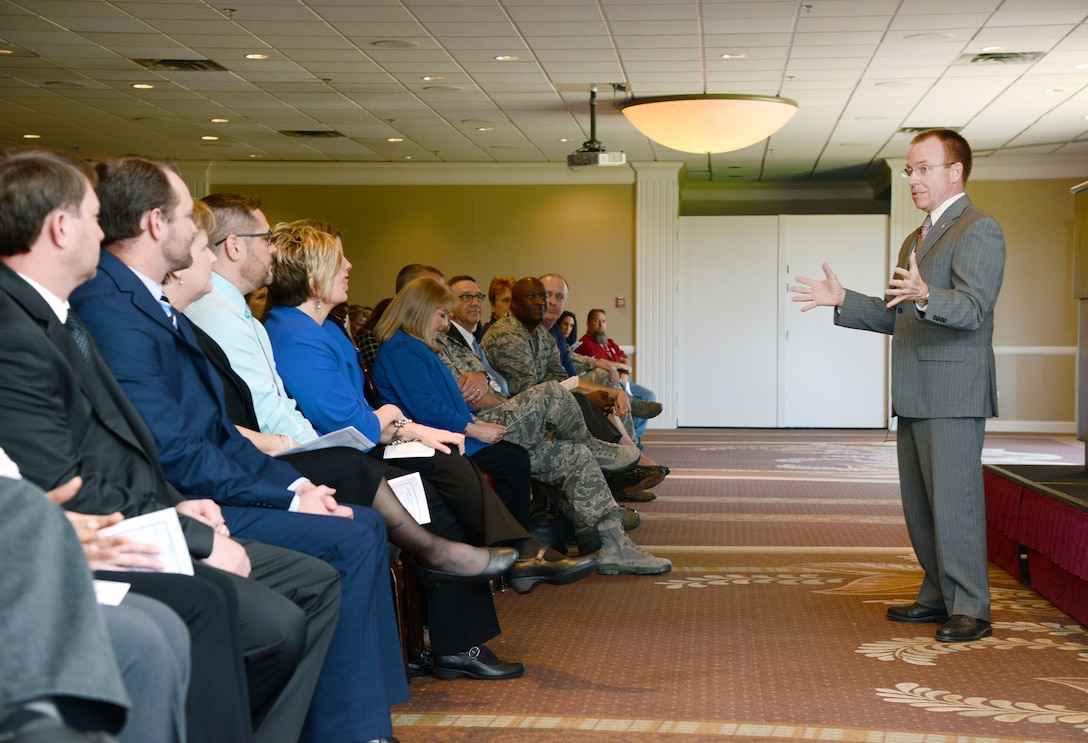 Jeffrey Allen, Air Force Sustainment Center executive director, served as the guest speaker at the Employee Enhancement Program Graduation at the Tinker Club March 23. There were a total of 97 graduates from the program.  (Air Force photo by Kelly White)