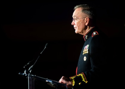 Marine Corps Gen. Joe Dunford accepts the Eisenhower Award on behalf of the more than two million members of the Defense Department from the Business Executives for National Security in Washington, April 13, 2017.