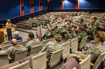 Thomas Hamill, speaks to members of the 433rd Airlift Wing April 13, 2017 at Joint Base San Antonio-Lackland. Hamill was a government-contracted truck driver during the Iraq War in 2004, when his convoy was ambushed and he was taken prisoner for 24 days. The speech focused on being resilient and never giving up in the face of danger.  (U.S.  Air Force photo by Benjamin Faske)
