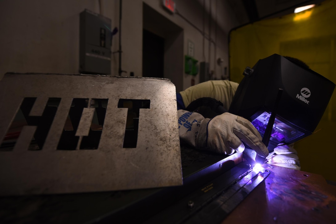 U.S. Air Force Senior Airman Jacob Fernholz, 19th Maintenance Squadron Aircraft Metals Technology journeyman, welds an aircraft component April, 11, 2017, at Little Rock Air Force Base, Ark. The metals tech Airmen weld everything from aircraft components to flight line support equipment. (U.S. Air Force photo by Airman 1st Class Kevin Sommer Giron)