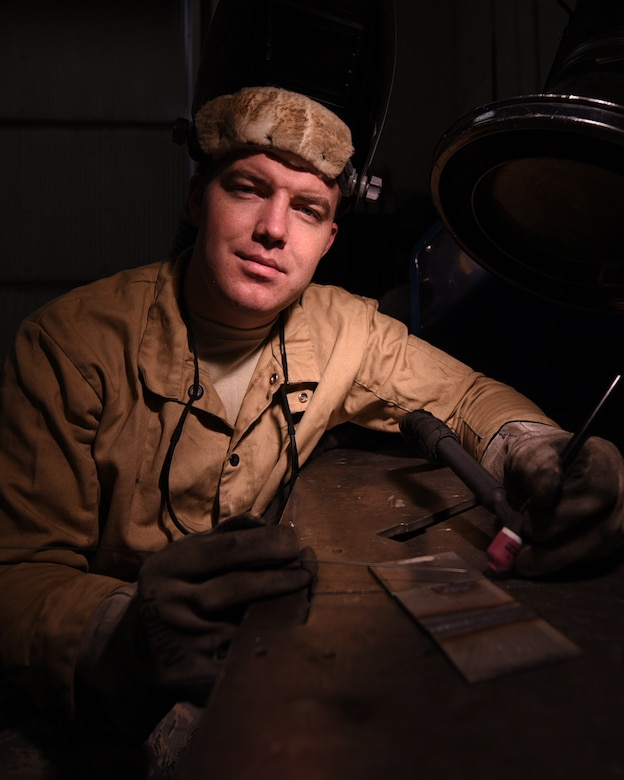U.S. Air Force Senior Airman Andrew Herrick, 19th Maintenance Squadron Aircraft Metals Technology journeyman, supports the Combat Airlift mission by welding and manufacturing aircraft parts. The metals tech Airmen are responsible for repairing and manufacturing essential aircraft components and flight line equipment using welding and milling machines. (U.S. Air Force photo by Airman 1st Class Kevin Sommer Giron)