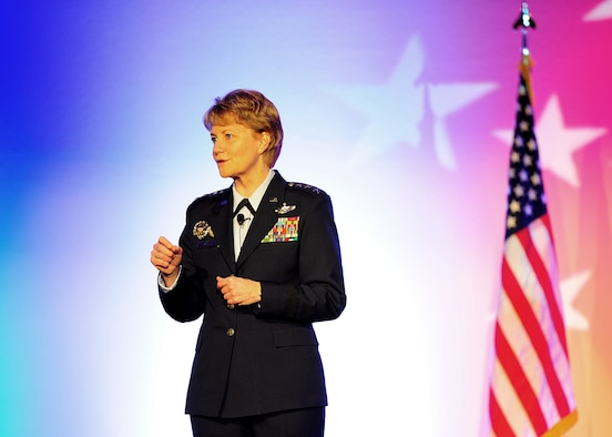 Chief of Air Force Reserve Command, Lt. Gen. Maryanne Miller, gives opening remarks at the Outstanding Airman of the Year banquet for AFRC at the Sawgrass Marriott Golf Resort, Ponte Vedra Beach, Florida, April 12, 2017. (U.S. Air Force photo by Tech. Sgt. Stephen D. Schester)