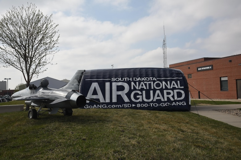 Sioux Falls, S.D. - 114th Fighter Wing recruiters hosted a night flying career day April 13, 2017, Joe Foss Field, S.D. Career day allows students, parents, and others who are interested in the South Dakota Air National Guard to see and learn about the different vocations the 114th Fighter Wing Airmen perform on a daily basis. (U.S. Air National Guard photo by Staff Sgt. Duane Duimstra/Released)