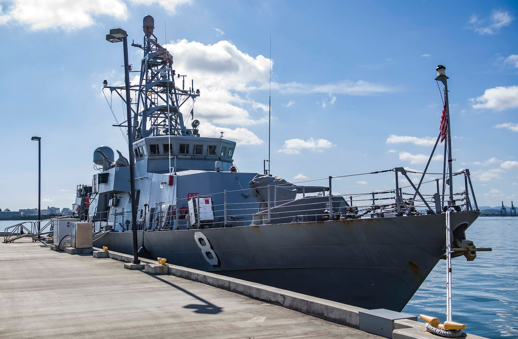 SAN JUAN, Puerto Rico (April 17, 2017) - The Cyclone-class patrol coastal ship USS Zephyr (PC 8) is docked at U.S. Coast Guard station San Juan. Zephyr is currently underway in support of Operation Martillo, a joint operation with the U.S. Coast Guard and partner nations, within the 4th Fleet area of responsibility. (U.S. Navy photo by Mass Commuication Specialist 3rd Class Casey J. Hopkins/Released)