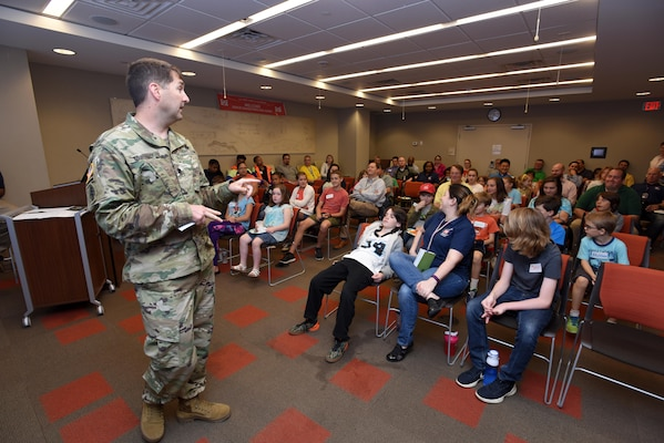 "Lt. Col. Stephen Murphy, U.S. Army Corps of Engineers Nashville District commander, welcomes children of district employees to the headquarters in Nashville, Tenn., April 14, 2017 for ""Take Your Kids to Work Day."""