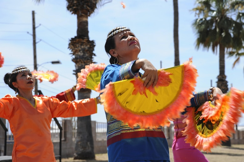 Dancers from the Filipino – American Sampaguita Club of Tucson perform during a cultural awareness festival at Davis-Monthan Air Force Base, Ariz., April 17, 2017. The festival, titled Strengthening Resiliency through Diversity, included informational booths, food tastings, guest speakers and live events from different cultures, ethnicities and groups. (U.S. Air Force photo by Airman 1st Class Mya M. Crosby