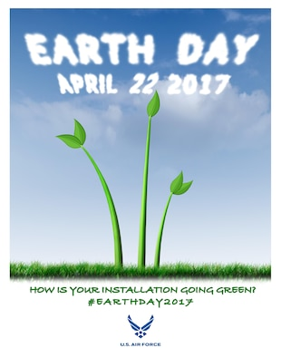 The United States Air Force encourages installations to participate in the Earth Day observance on April 22, 2017 by sharing going green methods and energy saving ideas via social media by using #EarthDay2017. The digital artwork depicts the concept of the Air Force's commitment to cleaner air with a you plant that resembles the Air Force Memorial sprouting up to a blue sky. (Graphic by Sandra Cantrell)