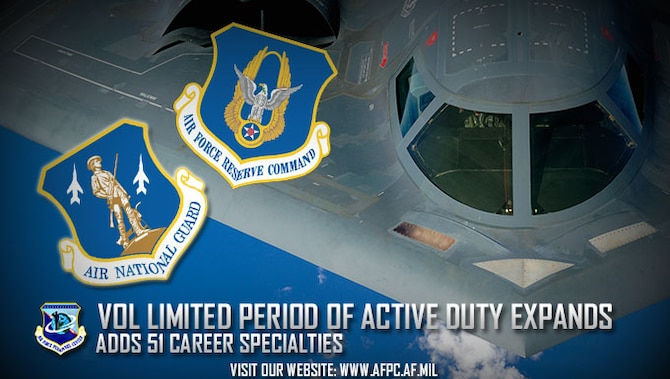 The Air Force Voluntary Period of Active Duty program just added 51 career field specialties. VLPAD gives certain Reserve and Guard Airmen the chance to serve on active duty for three years and one day while receiving active duty benefits in order to meet Air Force mission requirements. (U.S. Air Force courtesy graphic)