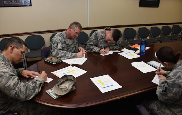 70th Intelligence, Surveillance and Reconnaissance Wing leadership and Air Force Assistance Fund project officers, sign their AFAF pledge form, April 7, 2017 at Fort Meade, Md. The AFAF is an annual effort to raise funds for the charitable affiliates that provide support to the Air Force family in need (active duty, retirees, reservists, guard and dependents, including surviving spouses. The charitable affiliate organizations provide support in an emergency, with educational needs, or a secure retirement home for widows or widowers of Air Force members in need of financial assistance. (U.S. Air Force photo/Staff Sgt. AJ Hyatt)