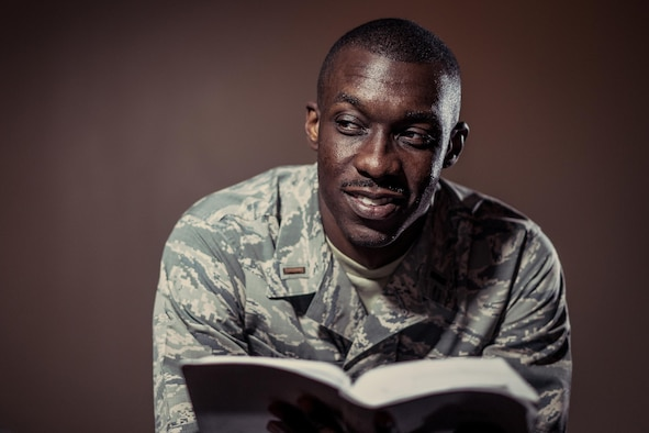 Second Lt. D'Anthony Harris, 413th Aeromedical Staging Squadron medical readiness officer, poses for a photo at his church April 18, 2017, in Warner Robins, Georgia. Harris is also a master resiliency trainer with the Air Force Reserve Yellow Ribbon Program. (U.S. Air Force photo by Jamal D. Sutter)