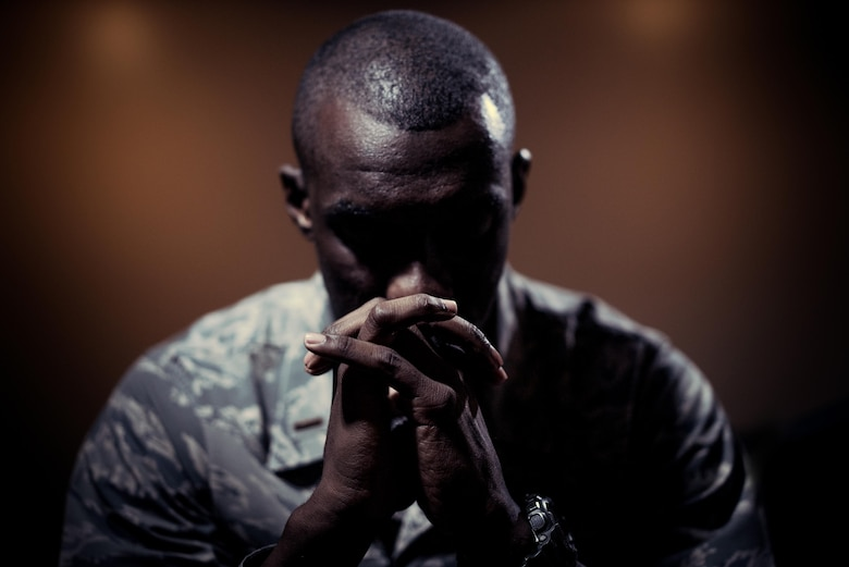 Second Lt. D'Anthony Harris, 413th Aeromedical Staging Squadron medical readiness officer, poses for a photo at Antioch Christian Tabernacle April 18, 2017, in Warner Robins, Georgia. Harris serves as a preacher at the church. (U.S. Air Force photo by Jamal D. Sutter)