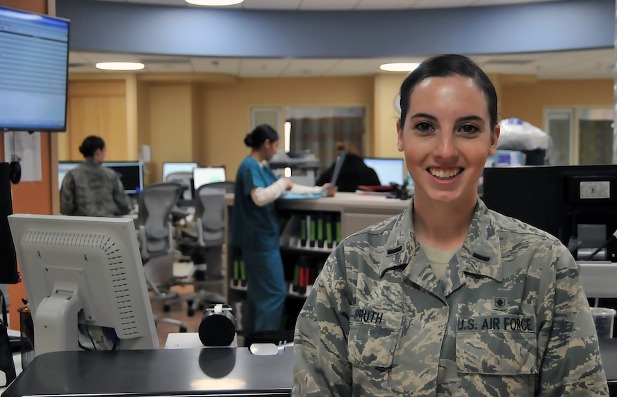 First Lt. Clarissa Carruth, 81st Inpatient Operation Squadron clinical nurse, pauses for a photo April 5, 2017, at Keesler Air Force Base, Miss. During her time at the 81st Medical Group, Carruth implemented a new communication tool, Ticket to Ride, and created a unit advisory council where Airmen have a voice and can feel comfortable expressing their ideas and concerns. (U.S. Air Force photo by Senior Airman Jenay Randolph)