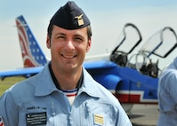 Commandant (Major) Nicolas Lieumont, pilot with Patrouille de France, poses for photo at Mather Air Field in Sacramento, California, April 15, 2017. (U.S. Air Force photo/Staff Sgt. Rebeccah Anderson)