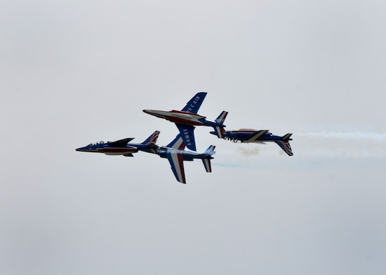 The Patrouille de France, an aerial demonstration team with the French Air Force, performs at Mather Air Field in Sacramento, California, April 15, 2017. The team consists of a commander and nine pilots along with 30 ground crew members. (U.S. Air Force photo/Staff Sgt. Rebeccah Anderson)