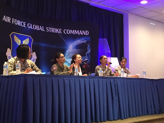 Air Force Global Strike Command members speak during the first Women's Leadership Symposium at Barksdale Air Force Base, Louisiana, March 13-15, 2017. The summit began with a panel of women sharing experiences in several different career fields, specifically nuclear-capable, within the Air Force and Air Force Global Strike Command. (Courtesy photo)