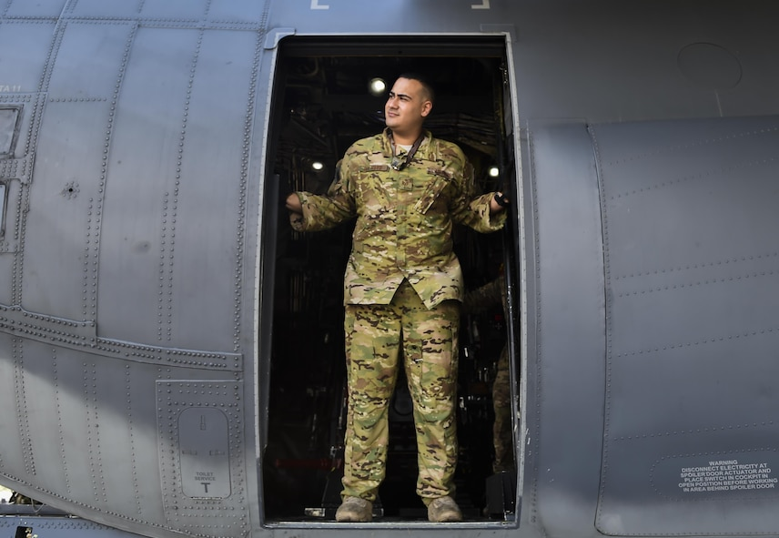 Staff Sgt. Joseph Del Hoyo, a special missions aviator with the 4th Special Operations Squadron, waits to load ammunition onto a AC-130U Spooky gunship at Hurlburt Field, Fla., April 17, 2017. Aircrew with the 4th SOS conducted a live-fire training mission to ensure mission readiness any time, any place. (U.S. Air Force photo by Airman 1st Class Joseph Pick)