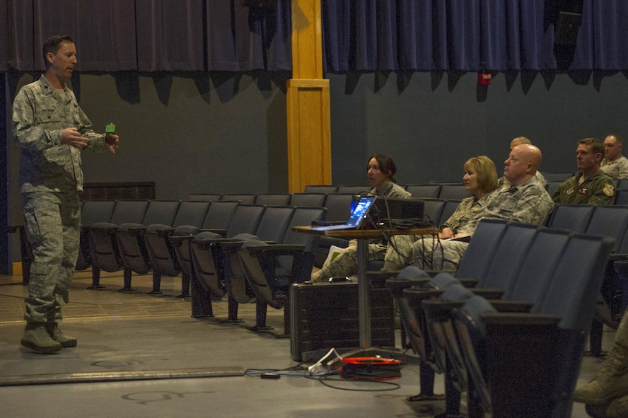 U.S. Air Force Airmen from the 354th Fighter Wing, listen to Lt. Col. Regan Patrick, a Profession of Arms Center of Excellence instructor, during a seminar 'Enhancing Human Capital' April 13, 2017, at Eielson Air Force Base, Alaska. The seminar was open to all military, civilian employees and spouses. (U.S. Air Force photo by Airman 1st ClassIsaac Johnson)