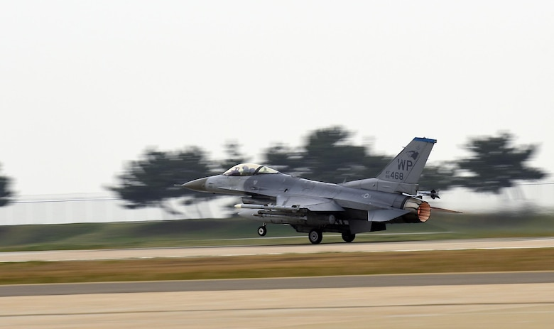 An F-16 Fighting Falcons from the 35th Fighter Squadron takes off during Exercise MAX THUNDER 17 at Kunsan Air Base, Republic of Korea, April 18, 2017. This large-scale employment exercise increases the U.S. and ROK's ability to work together shoulder-to-shoulder and ultimately enhances the U.S. and ROK capability to maintain peace in the region. (U.S. Air Force photo by Tech. Sgt. Jeff Andrejcik/Released)