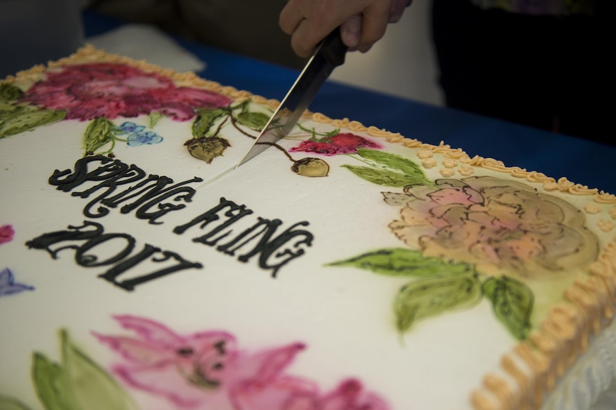 A cake is cut during the fourth annual Spring Fling event in the Base Exchange at Spangdahlem Air Base, Germany, April 14, 2017. The Exceptional Family Member Program, along with other various organizations, hosted the event to raise awareness of EFMP and the service it provides for families. (U.S. Air Force photo by Airman 1st Class Preston Cherry)