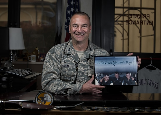 Col. Matthew Kmon, 31st Maintenance Group commander, poses for a portrait at Aviano Air Base, Italy, April 18, 2017.