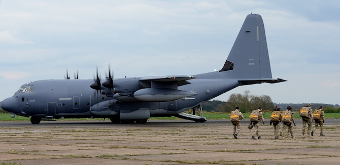 U.S. Air Force Air Commandos, assigned to the 321st Special Tactics Squadron board a MC-130J Commando II, April 6, 2017, on RAF Sculthorpe, England. The Air Commandos performed a second static line jump to become more familiar and ultimately, qualified on the new RA-1 parachute system. The new system will replace the MC-4 parachute. (U.S. Air Force photo by Senior Airman Justine Rho)