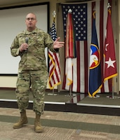 U.S. Army Reserve Command Sgt. Maj. Ted L. Copeland, gives his remarks during a change of responsibility ceremony at the U.S. Army Forces Command and U.S. Army Reserve Command headquarters, April 18, 2017, at Fort Bragg, NC. Copeland takes over the U.S. Army Reserve's top enlisted position after serving as the command sergeant major of the 79th Sustainment Support Command in Los Alamitos, Calif. (U.S. Army photo by Timothy L. Hale/Released)