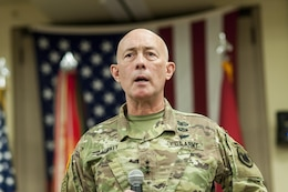 Lt. Gen. Charles D. Luckey, chief, Army Reserve and U.S. Army Reserve Command commanding general, gives his remarks during a change of responsibility ceremony for U.S. Army Reserve Command Sgt. Maj. Ted L. Copeland, at the U.S. Army Forces Command and U.S. Army Reserve Command headquarters, April 18, 2017, at Fort Bragg, NC. Copeland takes over the U.S. Army Reserve's top enlisted position after serving as the command sergeant major of the 79th Sustainment Support Command in Los Alamitos, Calif. (U.S. Army photo by Timothy L. Hale/Released)